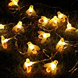 10ft/3m 20 LEDs Bee Shape String Lights, Battery Powered Garden Christmas Lights (Warm White),Flexible Copper Wire Decoration Light for Party Wedding Holiday Birthday