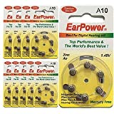 60 Piles Auditives EarPower Taille 10 / A10 (lot de 10 plaquettes) - Pour Appareils Auditifs/Aides Auditives - Sans Mercure - Voltage 1.45V / PR70 / Premium ZINC AIR / A10 / P10 /