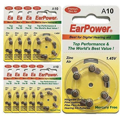 Pilas de Audífono EarPower Tamaño 10 Amarillo | Para Aparato...