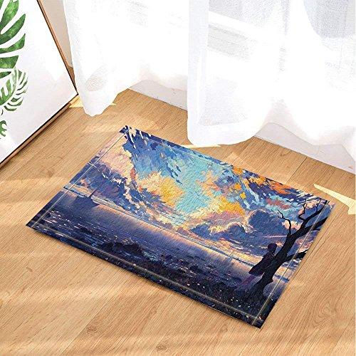 r, Navigation Segelboot Laubblätter Brennen Wolken Hintergrund Aquarell Print Badteppiche,Kindermatte, 40X60Cm, Bad-Accessoires ()