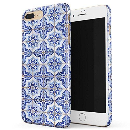 Marokkanische Henna-design (BURGA Weiß Blau Mit Gold Marokkanisch Fliesen Muster Mosaik Marmor Mode Dünn, Robuste Rückschale aus Kunststoff Für iPhone 7 Plus / iPhone 8 Plus Hülle Handyhülle Schutz Case Cover)