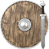 NET TOYS Vikingo Escudo y Espada | Armas de Juguete Guerrero | Escudo Redondo y Espada | Accesorios Caballero Medieval