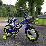 Fenfen Luminous Rad Kinder Fahrrad 12/14/16 Zoll Kinderwagen 2-8-jährige Junge und Mädchen Pedal Fahrrad blau (Size : 12 inch blue)