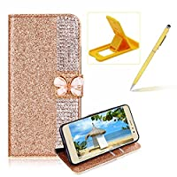 Diamond Wallet Leather Case for Huawei P8 Lite 2017,Flip Cover for Huawei P9 Lite 2017,Herzzer Premium Luxury Butterfly Buckle Magnetic Closure Gold Glitter Stand Case with Inner Soft Rubber Protective Case
