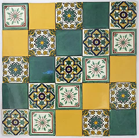 Pack of 25 Assorted Talavera Mexican Handmade 10.5cm Tiles: 'Fresco'