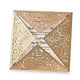 Dream Planer Gold quadratisch Laser geschnitten Hochzeit Einladungen Karte Sets mit Spitze Ärmel Einladungen für qinceanera Verlobung Geburtstag Bridal Dusche Baby Dusche Partei, 1pc,cw520go(1)