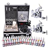 AW Complete Tattoo Kit 40 Color Ink 2 Machine Guns Set LCD Power Supply Foot Switch Equipment