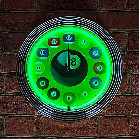 Billard Ball grün neon Uhr 240V 3-polig UK-Stecker