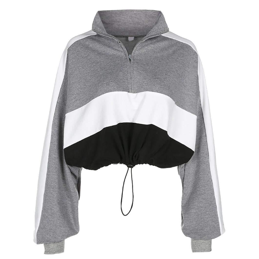 Webla Frauen Langarm Pullover Damen Kapuzenpullover Sweatshirt Bluse Crop Tops Patchwork Shirt