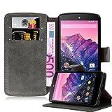 Cadorabo Custodia per LG Nexus 5 Custodia di Libro di Finta-Pelle Matt Retro in Grigio OPACHE - con Vani di Carte Funzione Stand e Chiusura Magnetica