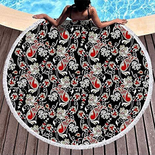 Charzee Damen Polyester Paisley Muster Rund Meditation Matten Roundie Tischdecke Mode Teppiche Black 59inch
