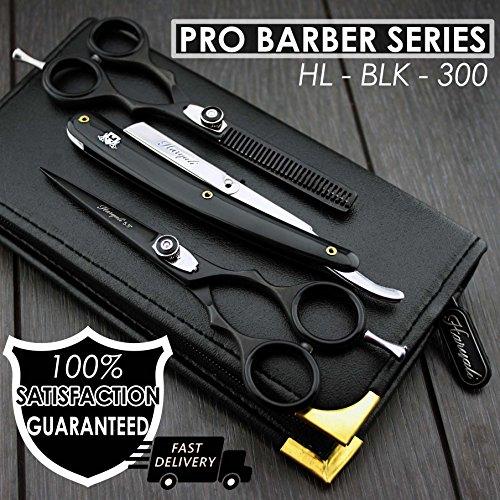 Barber/Professional Stil Haare schneiden, Effilierschere Set mit Herren Rasiermesser in Edelstahl. Kommt mit Das Leder Tasche.