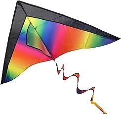 BESTOYARD Drachen für Kinder und Erwachsen - Dauerhaft Regenbogen Drachen für Anfänger mit 60m Drachenschnur, Griff und 3 Verschiedene Schwänze, 120cm x 60cm