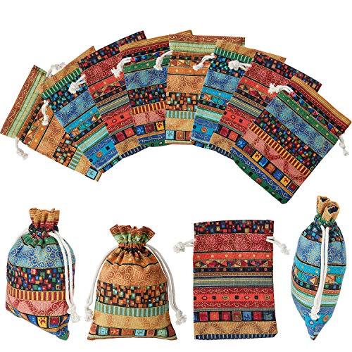 Características:   Bonito diseño:  Con patrones coloridos y diseño de cordón, se ve hermoso y muy práctico, puede ser muy adecuado para guardar joyas, monedas y otros tesoros.   Lavable y reutilizable:  Nuestras bolsas se pueden lavar a máquina cuan...
