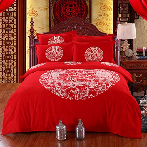 HBY Duvet Cover & Pillowcase 4 Pieces Set Bedding Digital Print Quilt Case Single Double King Bedding Bedroom Daybed (Double) 2m bed