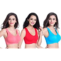 Dream ND Free Size Air Bra, Sports Bra for Girls and Women Non Padded Non Wired Seamless Bra (Pack of 3) Free Size