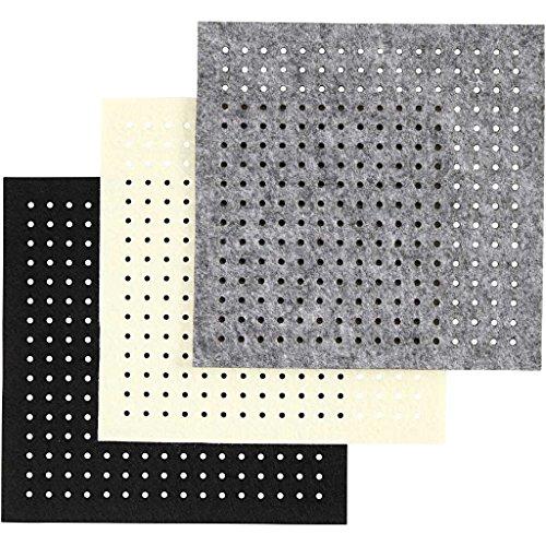 Bastel-Filz mit Löchern, Blatt 20×20 cm, grau, off-white, schwarz, 12sort. Blatt