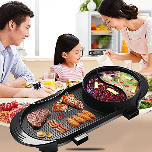 Cookware BBQ Electric Grill Pan With Hot Pot 2 In 1, Indoor/Outdoor 1700 Watts Electric Oven/Teppanyaki Electric Grill/Hot Pot