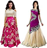 JAKM Girls Pink & Purple Banglori & Velvet Semi Stitched Combo Pack lehenga Choli Salwar Suit Gown (Kids Wear_Free Size_8-12 Year age)