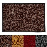 Design Schmutzfangmatte | mit Schnörkelmuster | für Eingangsbereich | Fußmatte in vielen Größen und Farben | braun 40x60 cm