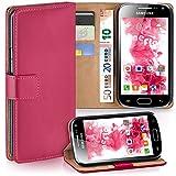 moex Samsung Galaxy Ace 2 | Hülle Pink mit Karten-Fach 360° Book Klapp-Hülle Handytasche Kunst-Leder Handyhülle für Samsung Galaxy Ace 2 Case Flip Cover Schutzhülle Tasche