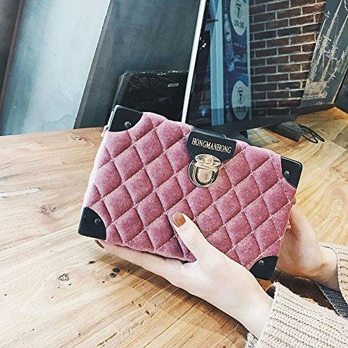 Samt Weibliche Ling Gitter Kleine Quadratische Tasche Mode Schloss Umhängetasche Diagonal Handtasche , Rosa - Samt Gitter