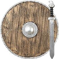 Armas de Juguete Guerrero | Vikingo Escudo y Espada | Accesorios Caballero Medieval | Escudo Redondo y Espada