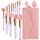 Pennelli Make Up Start Makers Professional 12Pcs Set di pennelli per trucco in marmo rosa con correttore di fondotinta Blush