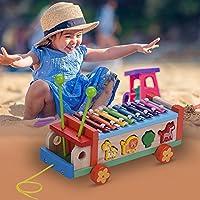 لعبة سيارة خشبية من ليكسادا مع 8 ملاحظات إكسيليفون جلوكينسبيريل 7 مكعبات لطيفة على شكل حيوان لعبة تعليمية مبكر لعبة إيقاع آلة موسيقية هدية للأطفال