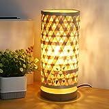 Depuley Lampe de Table Abat-Jour en Bambou, Lampe de Lecture, Lumière Chaude E27, Design Moderne en Bambou et Bois de Caoutch