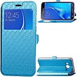 Samsung Galaxy J3 (2016) J310 Case, Danallc Luxury PU Leather Wallet Flip Protective New Case Cover With Card Slots And Stand For Samsung Galaxy J3 (2016) J310 Blue