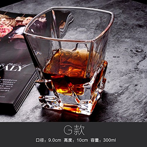 ZBZQ-Bleifreies Kristallglas, Whisky Schale, ausländischen Wein Schale, Glas, Milch, Wasser, Tasse, Tasse Tee, Bier Schale, rechteckig Schale, G Whiskey (Glas Kostüme Milch)