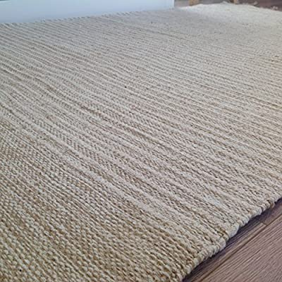 Natural Cotton & Jute Beige Cream Light Pin Stripe Rug 70cm x 130cm (Second Nature) - inexpensive UK light store.