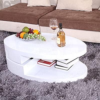 OSPI White Gloss Swivel Extendable Coffee Table with storage shelf White color W100xD60xH33cm - low-cost UK light store.