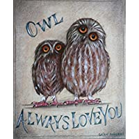 Owl Shabby Chic Wooden Sign Plaque Picture Print by Sean Aherne Art