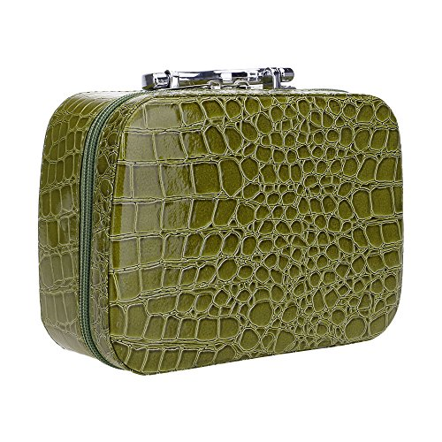 HuaYang Mode Voyage Coffrets Boîte Cosmétique à main PU Maquillage de bijoux en cuir Coffret à Maquillage Miroir de toilette - Vert