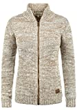 DESIRES Phenix Damen Lange Strickjacke Cardigan Grobstrick Winter Longstrickjacke mit Reißverschluss und Stehkragen, Größe:L, Farbe:Dune (5409)