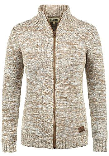 DESIRES Phenix Damen Strickjacke Cardigan Grobstrick mit Reißverschluss und Stehkragen aus 100% Baumwolle Meliert, Größe:L, Farbe:Dune (5409)