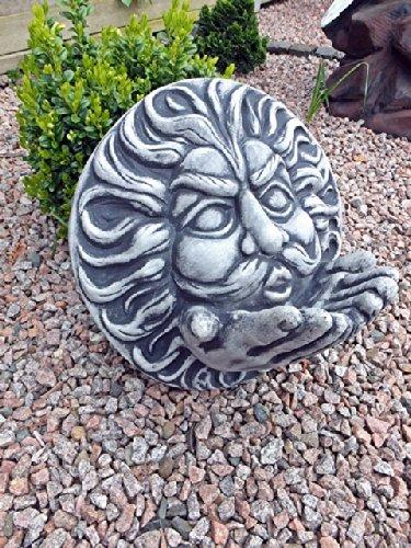 Steinfigur Wandrelief Wind Gesicht Sonne Mond Steinguss Gartenfigur