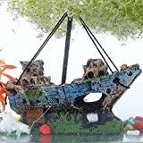 Sixrun Acuario Artificial de Agua Decoraciones Ornamento del Tanque de Peces Restos naufragio Barco hundido Destructor Decoración de paisajismo