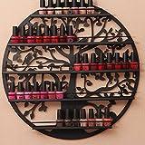 Esmalte de Uñas Soporte de aceites Esenciales Organizador montado en la Pared 5Tier Árbol Silueta Arte de Pared salón de Metal Redondo por aishn (Negro)