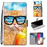 Miagon Flip PU Leder Schutzhülle für iPhone XS/X,Bunt Muster Hülle Brieftasche Case Cover Ständer mit Kartenfächer Trageschlaufe,Limonade Katze -
