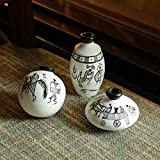 ExclusiveLane Warli Hand-Painted Terracotta Miniature Decorative Pot (9.4 cm x 9.4 cm x 8.9 cm, White, Set of 3)