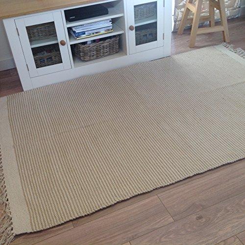 Second Nature Alfombra de rayas fabricada con algodón natura y yute, 90x150cm, color beige claro
