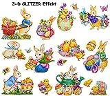 Unbekannt 19 TLG. Set _ 3-D Glitzer Effekt - Fensterbilder -  Osterhase & Ostereier  - statisch haftend - selbstklebend + wiederverwendbar / Ostern & Frühling - Oster..