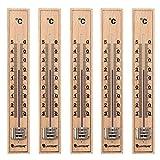 Lantelme 5 Stück Set Holz Buche Analog Innen/Außen Thermometer
