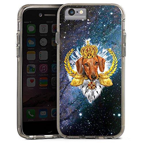 Apple iPhone 6 Bumper Hülle Bumper Case Glitzer Hülle Dackel Koenig King Bumper Case transparent grau