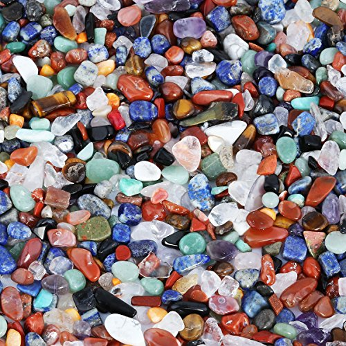 mookaitedecor 450 Gramm Natur Mini Edelsteine Trommelsteine für Deko, Lade Steine Dekorative Steine für Gartendeko