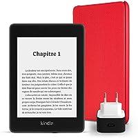 Pack essentiel comprenant la liseuse Kindle Paperwhite, 8 Go, avec offres spéciales et Wi-Fi, un étui Amazon en cuir (Rouge) et un chargeur Amazon Powerfast