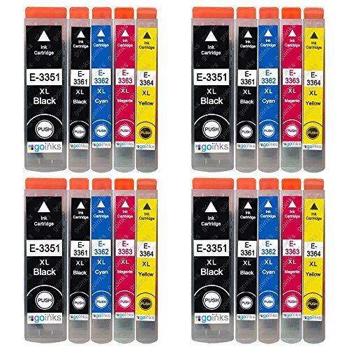 4 Go Inks Set of 4 + Extra Black Ink Cartridges to Replace Epson T3557 (33XL Series) Compatible/Non-OEM for Epson Expression Premium Printers (20 Inks)
